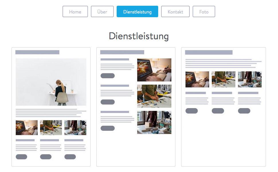 """Unter """"Dienstleistung"""" findest du Seitenvorlagen für Shops und zur Vorstellung verschiedener Angebote."""