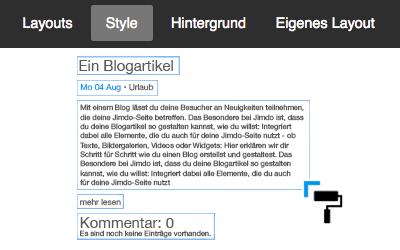Bild: Style-Optionen für den Blog