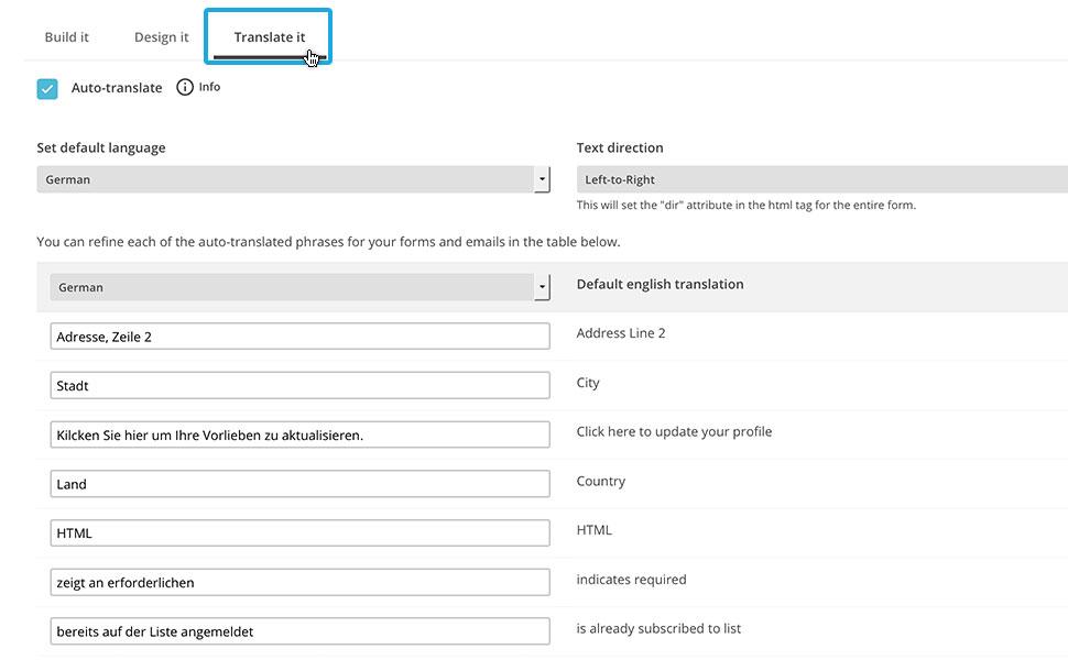 """5. Im nächsten Schritt """"Translate it"""" übersetzt du die Inhalte, die den Newsletter Empfängern angezeigt werden."""