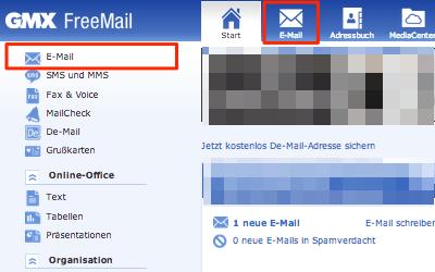 Bild: Eingang von Jimdo-E-Mails im GMX Postfach