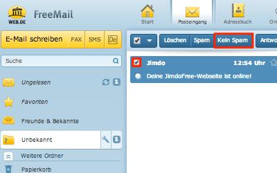 Bild: Kein Spam von Jimdo-E-Mails im web.de Postfach