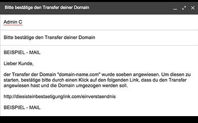 Beispiel: Bestätigen des Domaintransfers