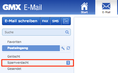 Bild: Spam-Ordner im web.de Postfach