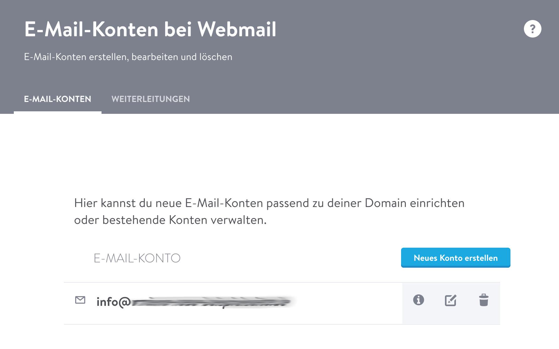 Webmail: Ansicht E-Mail-Konto hinzufügen (Bearbeitungsleiste)