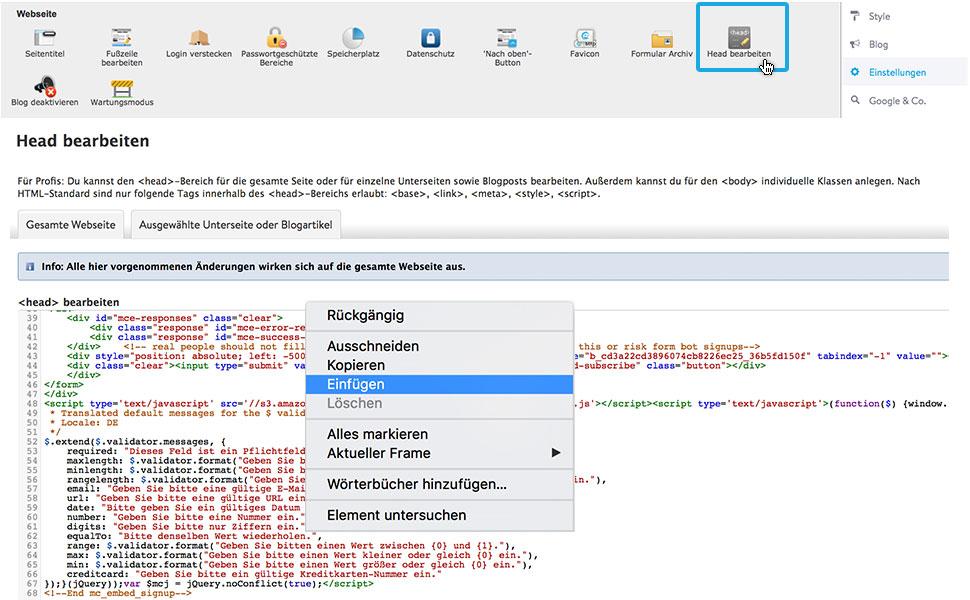 6. Füge nun den gesamten Code in den Head-Bereich deiner Seite ein: Einstellungen > Head bearbeiten > Code einfügen > Speichern.