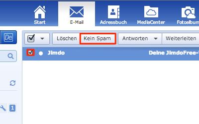 Bild: Kein Spam von Jimdo-E-Mails im GMX Postfach