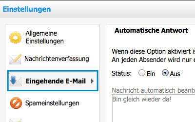 Bild: Jimdo Webmail Einstellungen Eingehende E-Mails