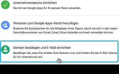 Google Apps Domain bestätigen