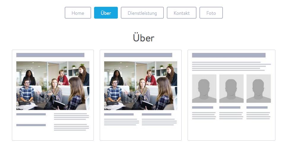 """""""Über""""-Seitenvorlagen nutzt du am besten, wenn du dich, dein Team oder deine Firma vorstellen möchtest."""