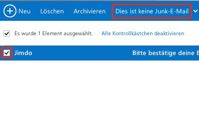 Bild: Hotmail - E-Mail als kein Junk markieren