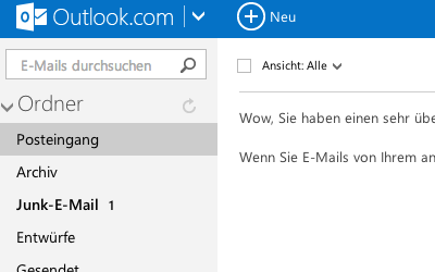 Bild: Hotmail Posteingang