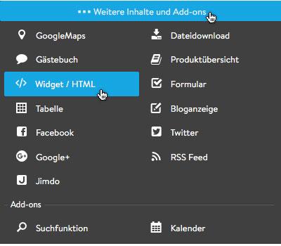 Bild: Widgets/HTML