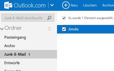 Bild: Junk E-Mail im Hotmail Postfach