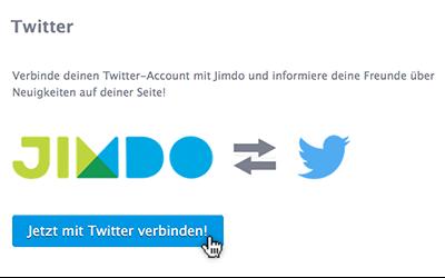 Jimdo Webseite mit Twitter Konto verbinden