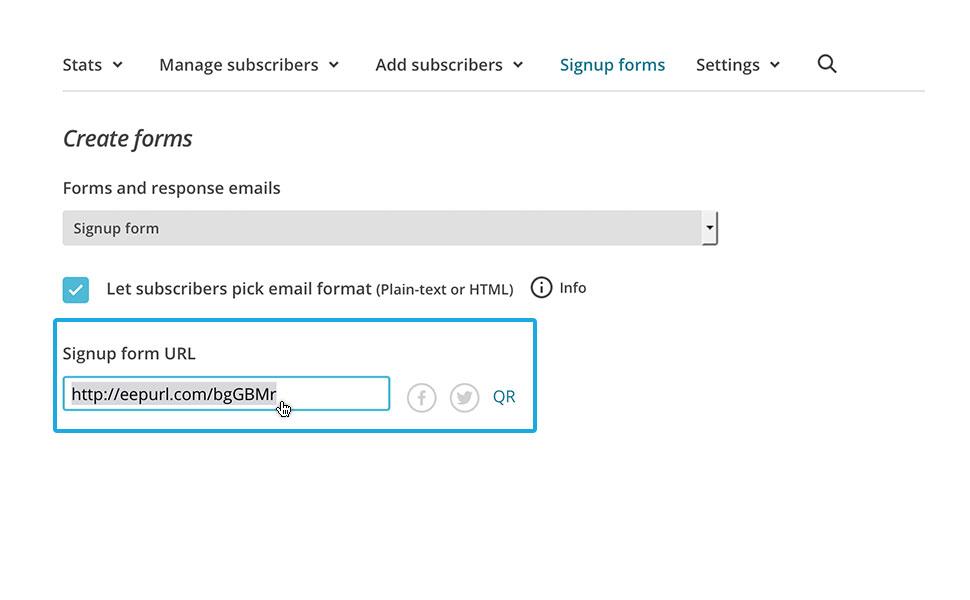 """6. Scrolle nach oben und kopiere dir die """"Signup form URL"""" in deine Zwischenablage."""
