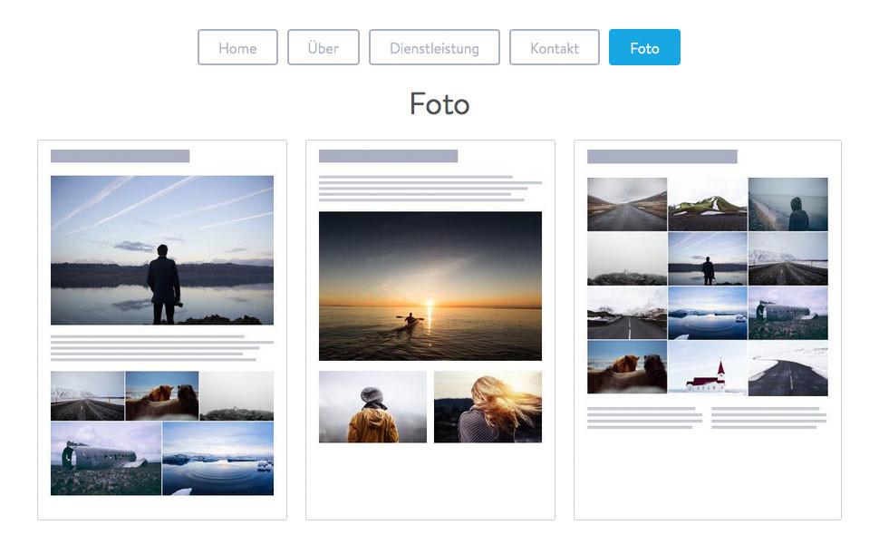 """""""Foto""""-Seitenvorlagen sind vor allem für Galerien und bildreiche Unterseiten super."""