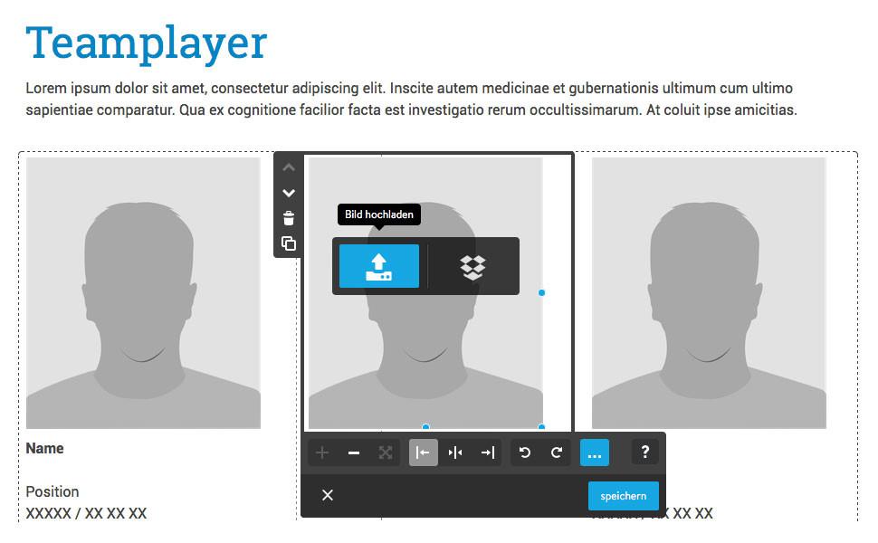 Hast du dich für eine Vorlage entschieden, ersetze die Beispielinhalte mit deinen eigenen Texten und Bildern.