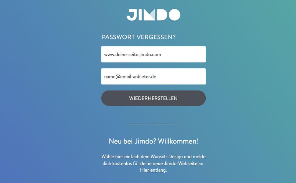 """2. Gib als nächstes deine Webseite sowie die E-Mail-Adresse an, mit der du bei Jimdo registriert bist und klicke auf """"Wiederherstellen""""."""