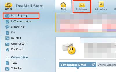 Bild: Eingang von Jimdo-E-Mails im web.de Postfach