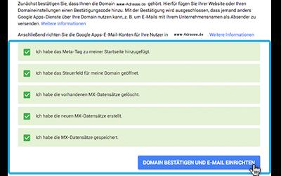 Google Apps Domain bestätigen und E-Mail einrichten