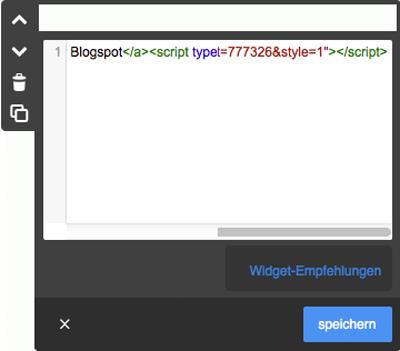 Bild: Basiswissen, Widget/HTML einbauen