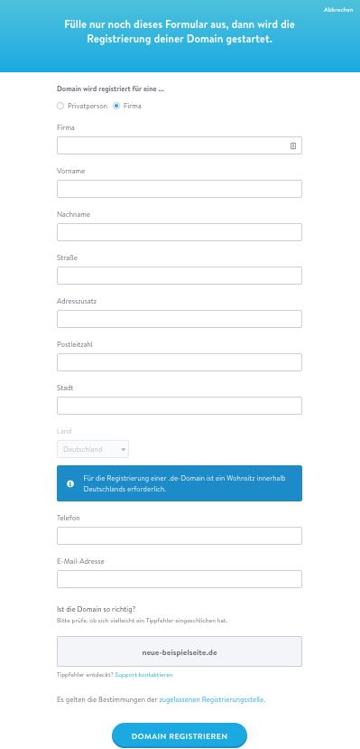 Jimdo Domainregsitrierungs-Formular
