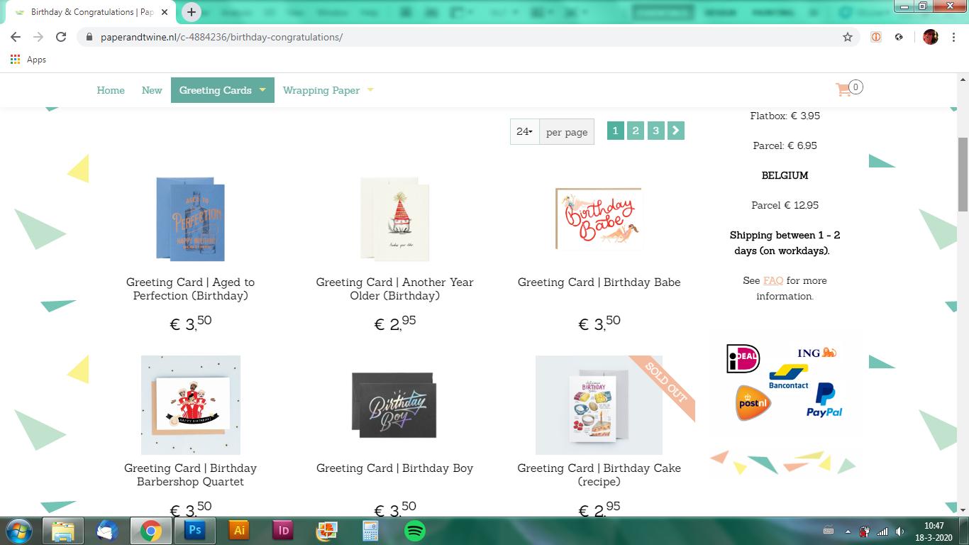 Webshop voor papierwaren bedrijf / Webshop for paper goods company