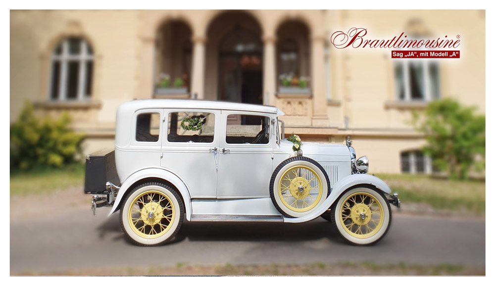 """Brautlimousine Modell """"A"""" Town Sedan, in weiß, Baujahr 1929"""