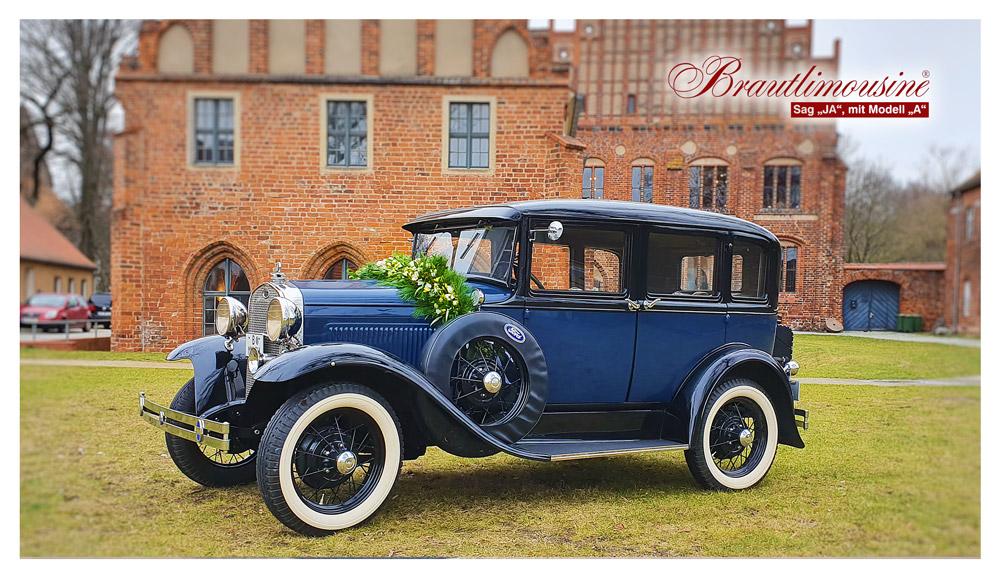 "Brautlimousine Modell ""A"" Town Sedan, in dunkelblau, Baujahr 1930"