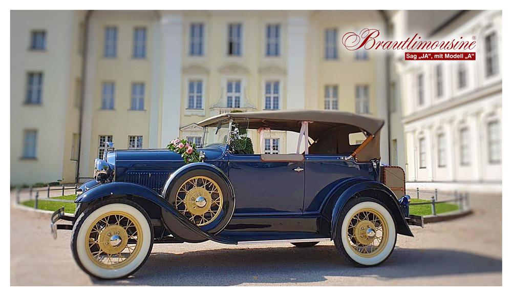 """Brautlimousine Modell """"A"""" Deluxe Phaeton, in dunkelblau (Cabriolet), Baujahr 1931"""