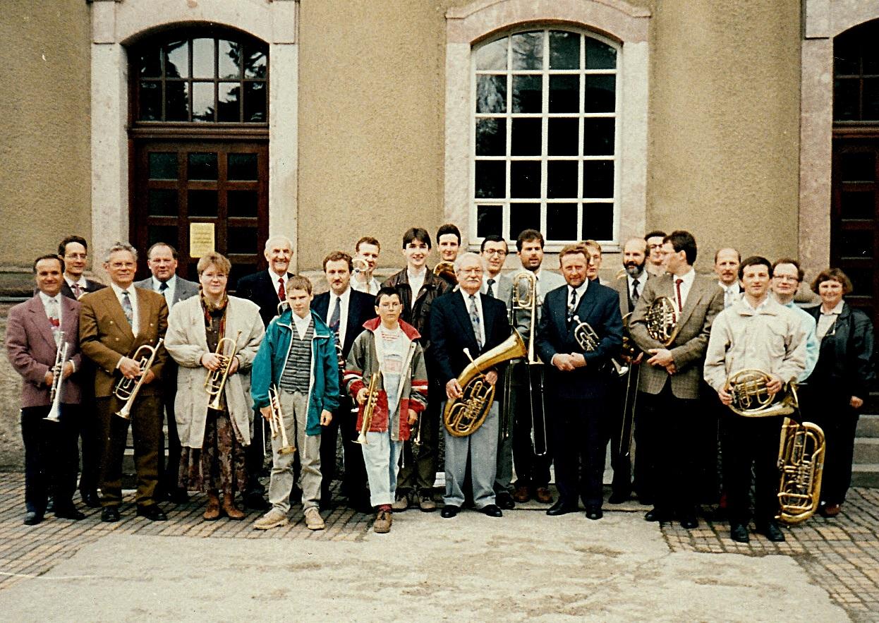 1996: 50 Jahre Posaunenchor Erfenschlag (1992 wurde der Kirchsaal in Erfenschlag aufgegeben, beide Chöre wurden zusammengelegt)
