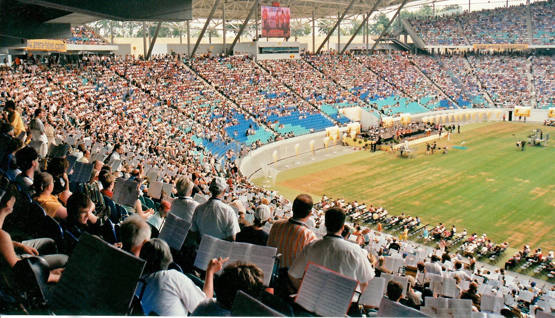 2008: Teilnahme am Deutschen Evangelischen Posaunentag in Leipzig - mit 16000 Bläsern war es das bis dahin größte bundesweite Posaunenfest