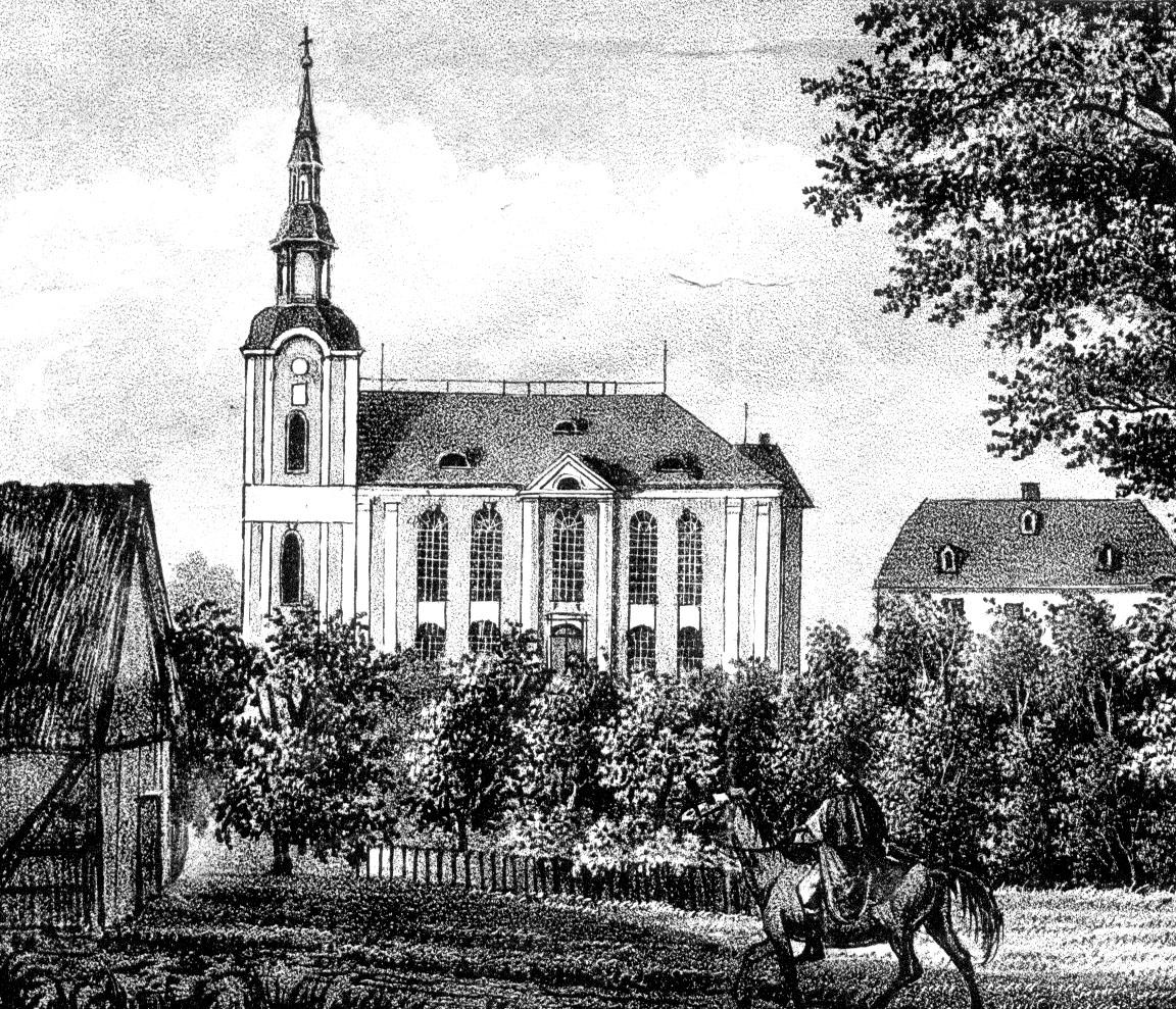Kirche Einsiedel, alter Steindruck, etwa 1830, SW.