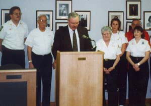 Councilman Walsh in 1998, acknowledging the Rescue Squad on its 50th anniversary