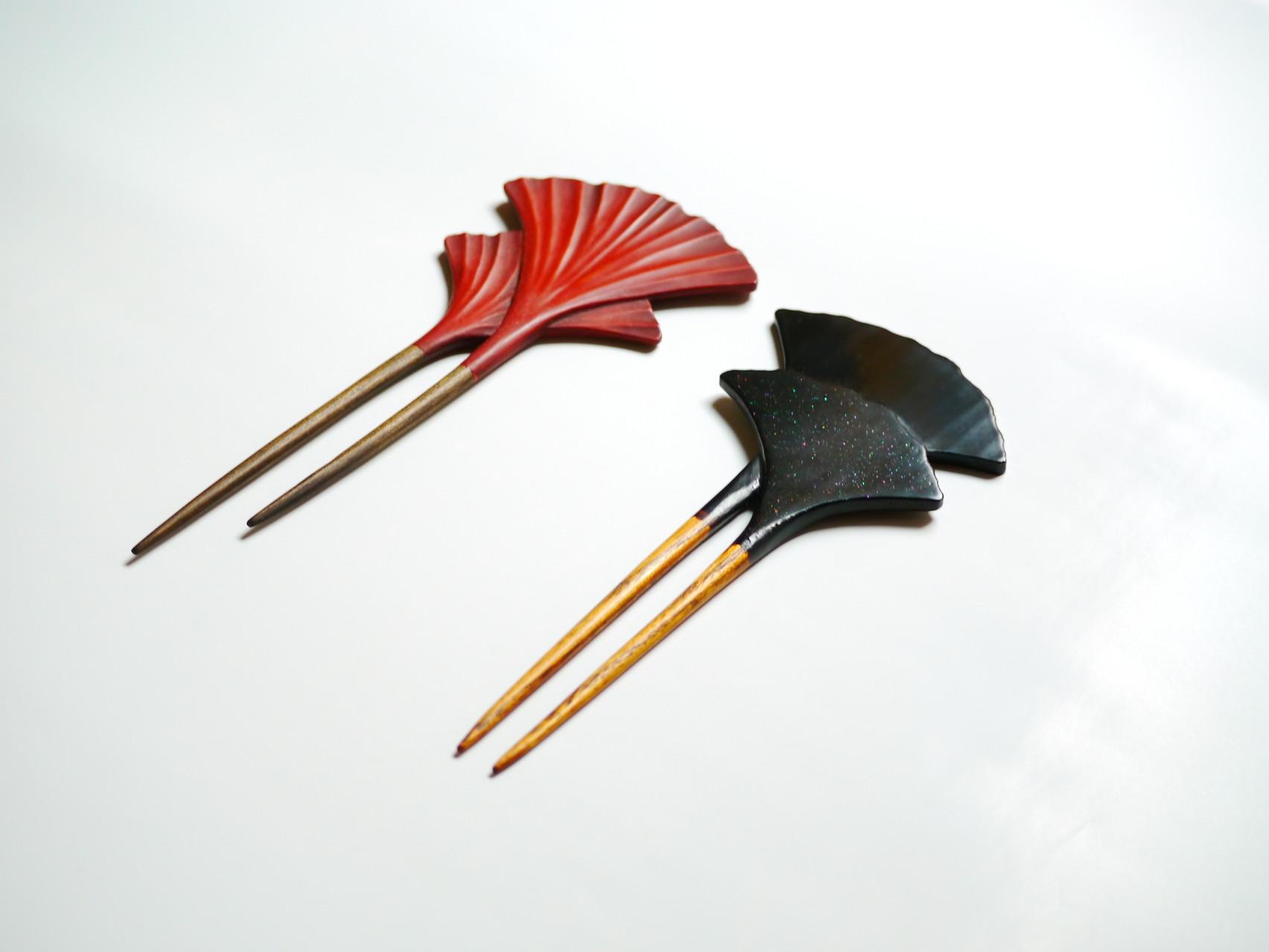 鎌倉彫 大銀杏かんざし|鎌倉漆工房いいざさ