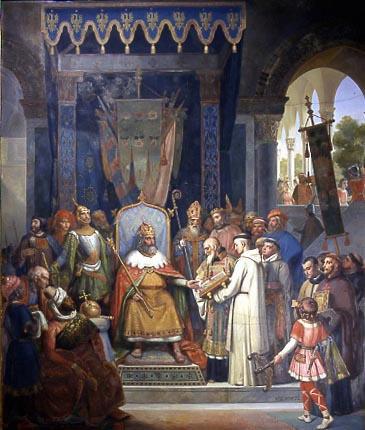 SCHNETZ Victor, Charlemagne, entouré de ses principaux officiers, reçoit Alcuin qui lui présente des manuscrits, ouvrages de ses moines