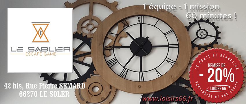 Réductions Escape game Le Sablier Loisirs 66