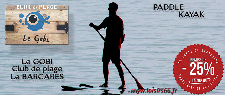 Réductions paddle Barcarès Loisirs 66