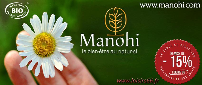 Réductions Manohi cosmétique bio LOISIRS 66