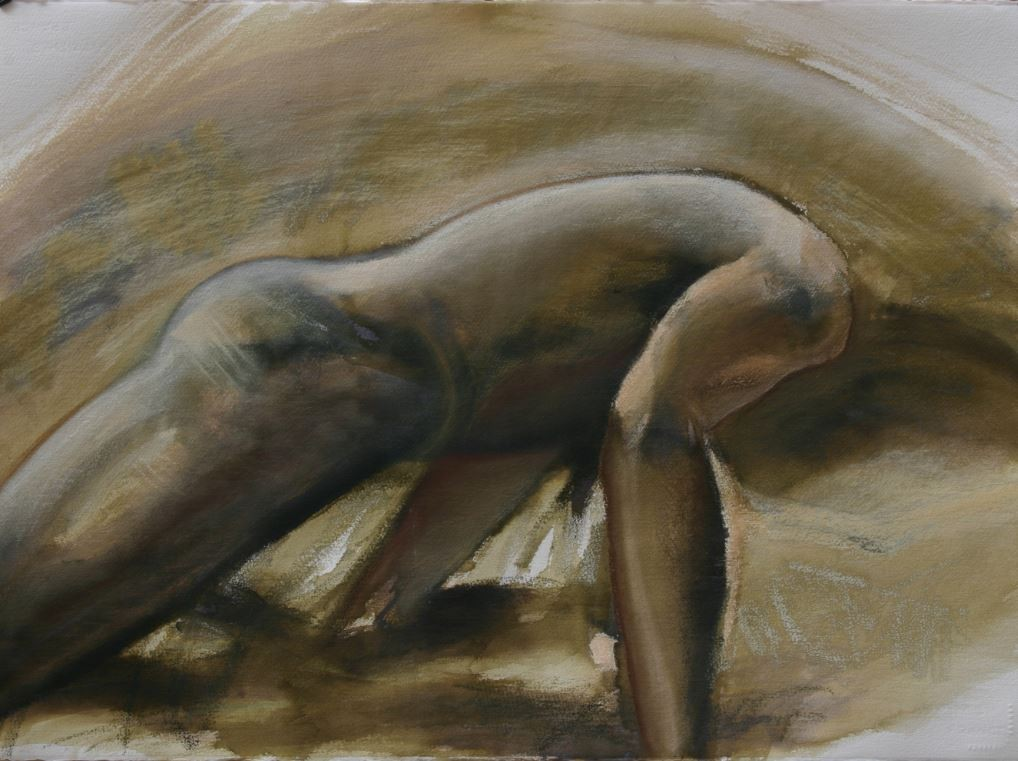 Revolving in Sepia II, 2014, 58 x 77 cm, ink and pastell on paper