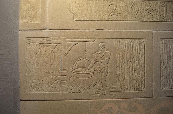 Gravure sur pierre de taille / Cuisinière de masse / Thorrens-Glières / Haute-savoie