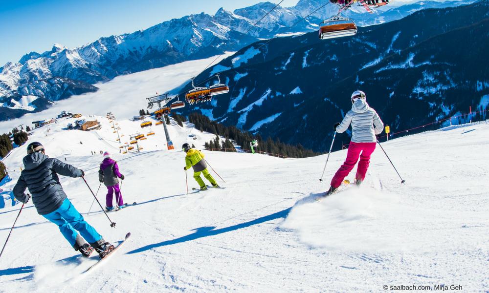 People skiing in Saalbach Austria