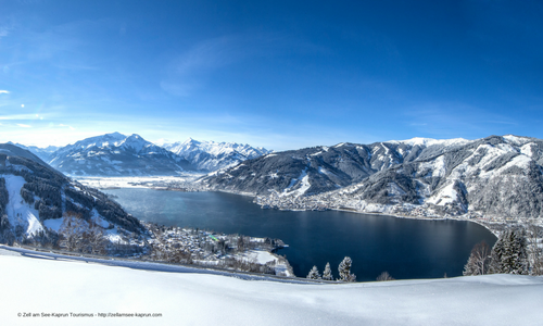 The view of lake Zell am See with the village in the back ground