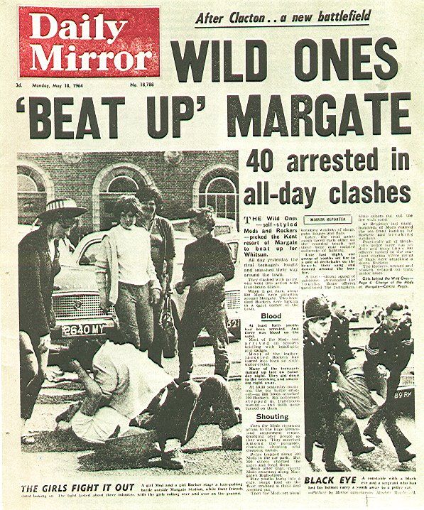 British culture photo: newspaper cover with photo of mods and rockers fighting