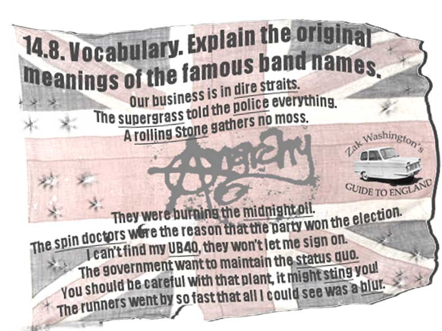 ESOL student speaking exercise graphic for English vocabulary: Origins of band names