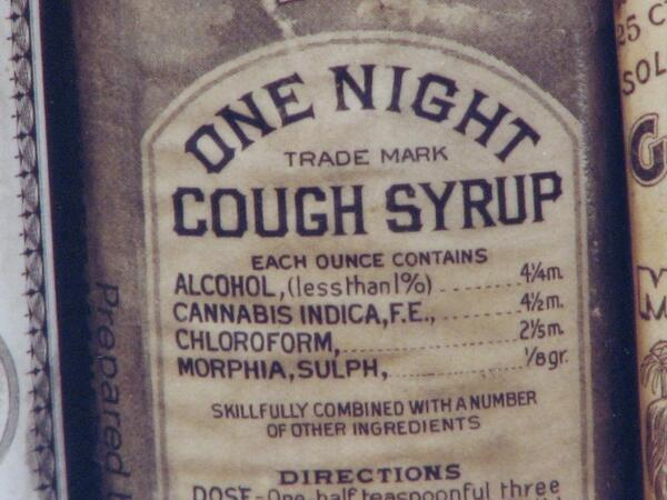 1888 medicine bottle with cough syrup containing alcohol cannabis and morhine