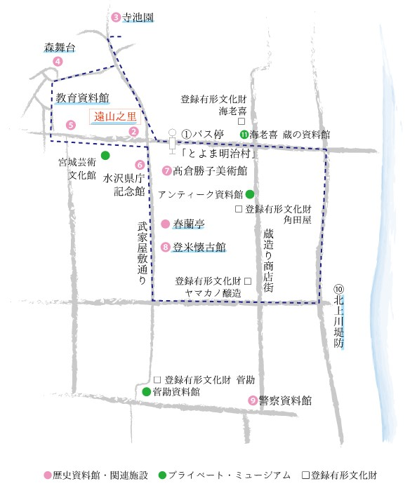 朝ドラ「おかえりモネ」舞台・登米市にある「みやぎの明治村・登米町」観光まちあるきマップ