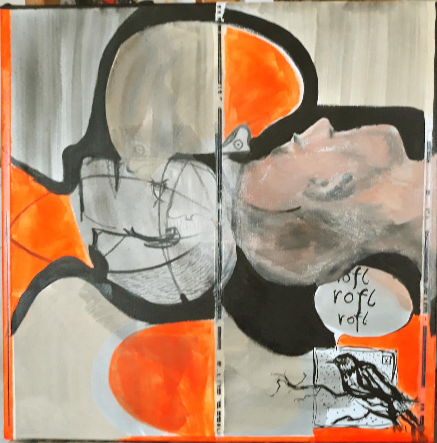als sechster: Gerhard Kaiser mit Acryl, Öllasur, Gelatine