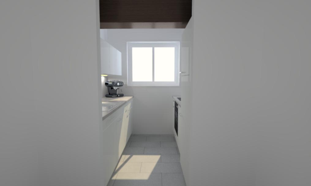 Ansicht Küche vom Gang her