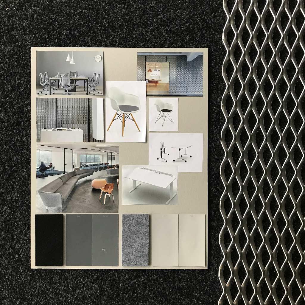 Moodboard mit Bildern und Materialien übersetzt die Identität in Bilder. Graue Herman Miller Bürostühle, weisser Vitra Eames Chair, Alu Streckmetall, grauer Filz, ...